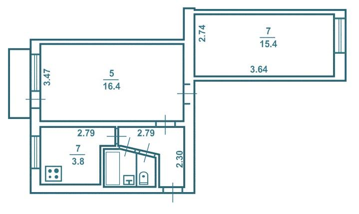 2-х комнатная брежневка вагон версия 2