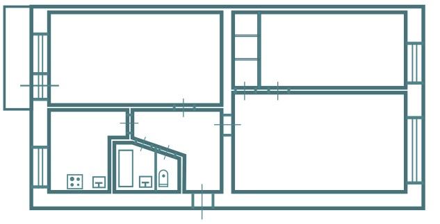 3-х комнатная брежневка версия 1