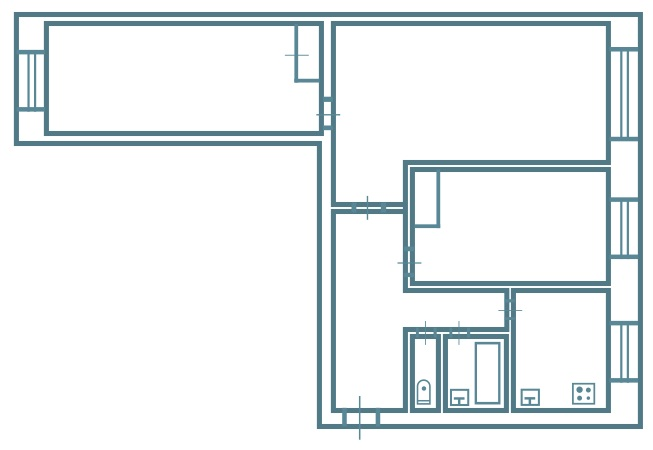 3-х комнатная брежневка версия 2