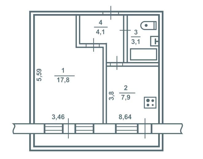 1-комнатная брежневка (переходный вариант)