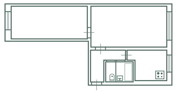 2-х комнатная брежневка вагон версия 1