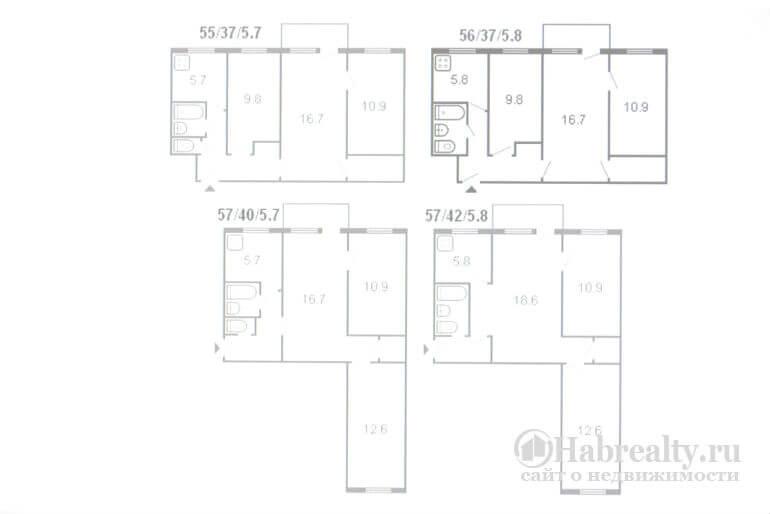 3-комнатная схема квартиры хрущевки