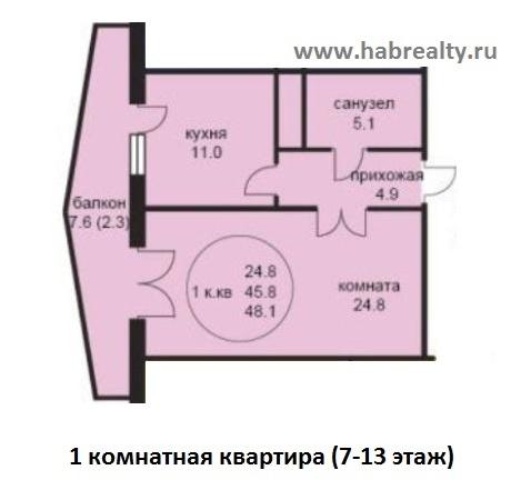 планировка 1-комнатная жк седьмое небо хабаровск середина