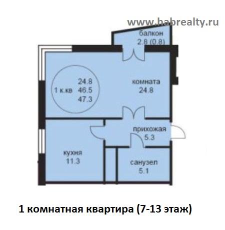 планировка 1-комнатная жк седьмое небо хабаровск угловая