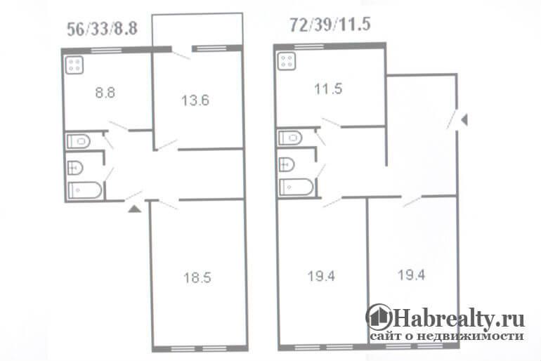 фото Сталинская планировка 2 комнатной квартиры