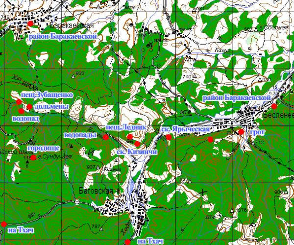 карта достопримечательностей кизинка