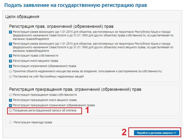 подать заявление погашении записи ипотеке портал росреестр онлайн