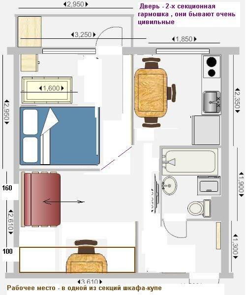 фото 1-комнатной квартиры перепланировка