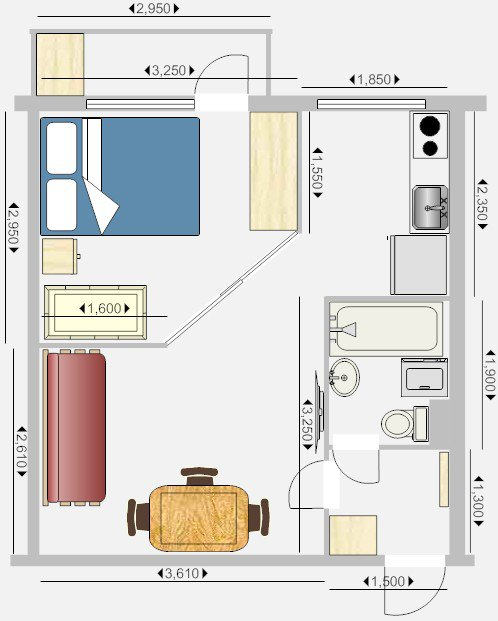 перепланировки 1-комнатной хрущевки от chlopak