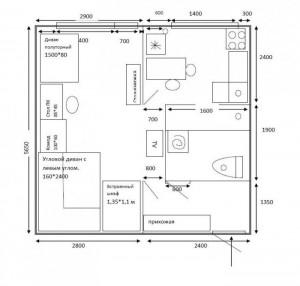первоначальный план перепланировки 1-комнатной хрущевки вар1