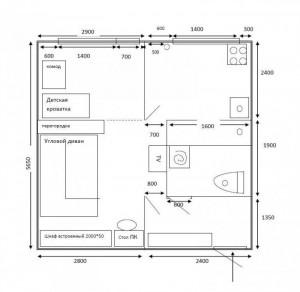 первоначальный план перепланировки 1-комнатной хрущевки вар2